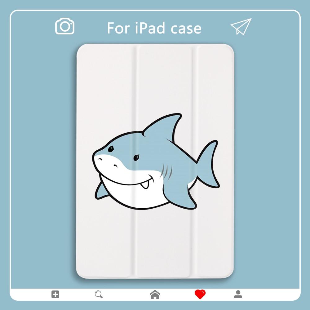 Tubarão dos desenhos animados ar caso para 10 2 ipad 7th geração caso bonito 11 pro 2020 capa dura de volta mini 5 casos tablet suporte para 12 9 pro