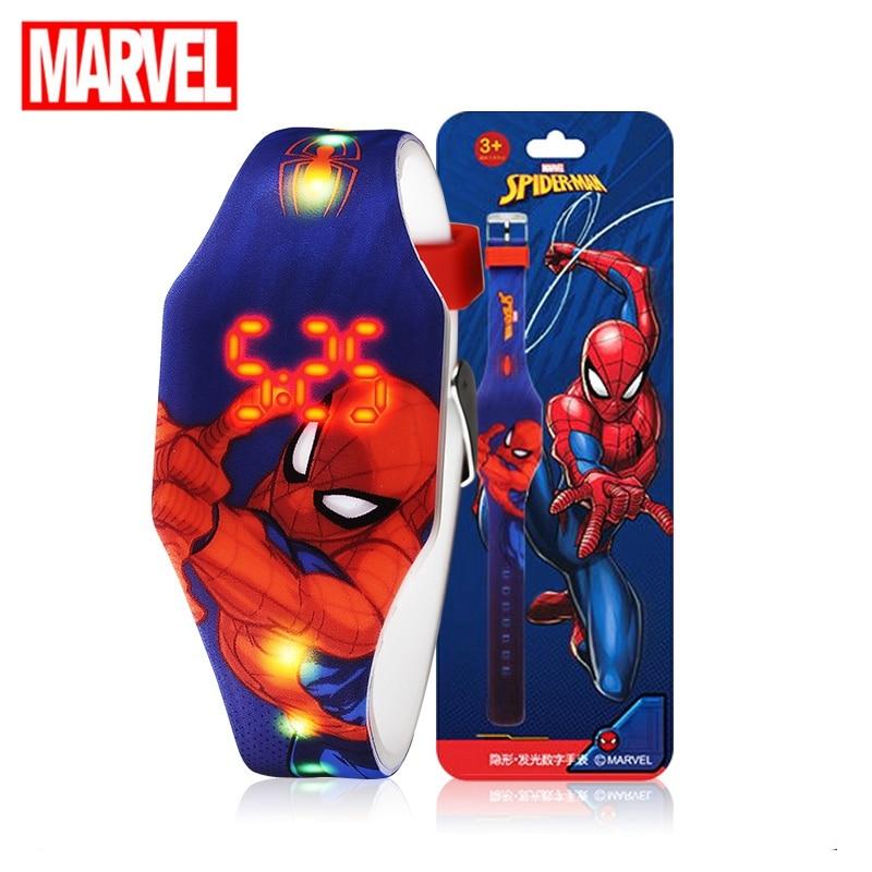 Spider Man Children Dazzling Color Light Boy Wrist Watches Marvel Avengers Super Hero Youth Girl Princess Kids Electronic Clocks