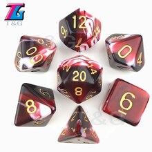 D4-D20 de dés de couleur rouge et blanc Transparent pour les jouets de fête RPG