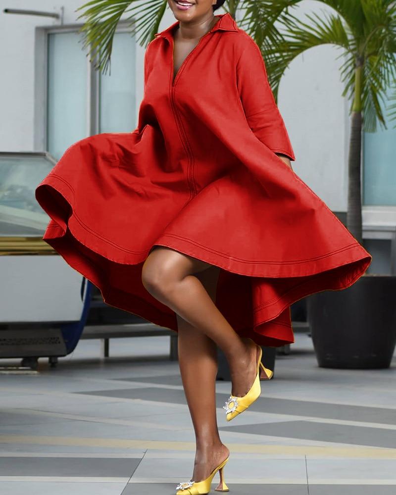 فستان افريقي عصري للنساء ، لون سادة ، مقاس كبير ، مجموعة خريف جديدة