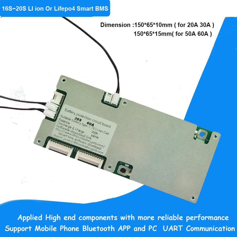 67.2V 75.6V 84V 16S 17S 18S 20S li ion polymer  or  18650 32650 Lifepo4 Smart BMS with 20A 30A 40A 50A 60A constant current