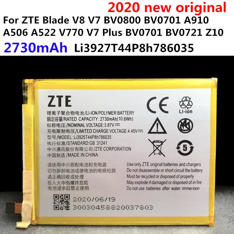 Original 2730mAh Battery Li3927T44P8h786035 For ZTE Blade V8 V7 BV0800 BV0701 A910 A506 A522 V770 V7 Plus BV0721 Z10 Batteries