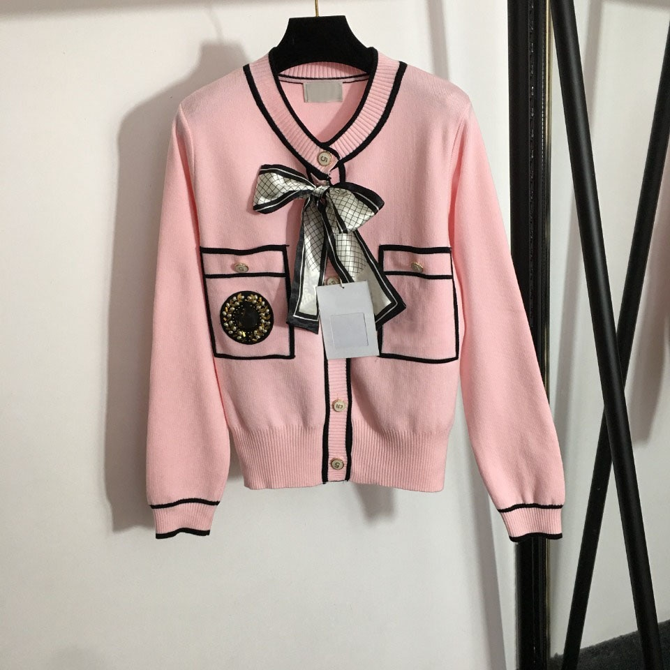luxury design single breasted women's knitted cardigan coat temperament V-Neck long sleeve women's spring and autumn cardigan enlarge
