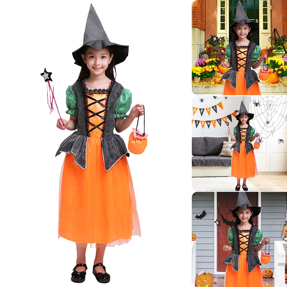 halloween children s costume cosplay girl horror vampire death ghost clothes little witch long sleeve costume girls prom dress Kid Girls Halloween Witch Cosplay Costume Kids Halloween Gift Dress up Prom Dress Girl Elf Suit Skirt  100/110/120/130/140 Sizes