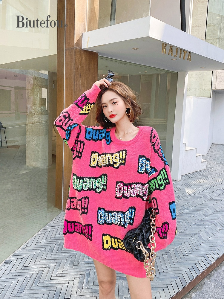 2021 New Arrival Spring Women Long Loose Beading Letter Print Thick Sweaters