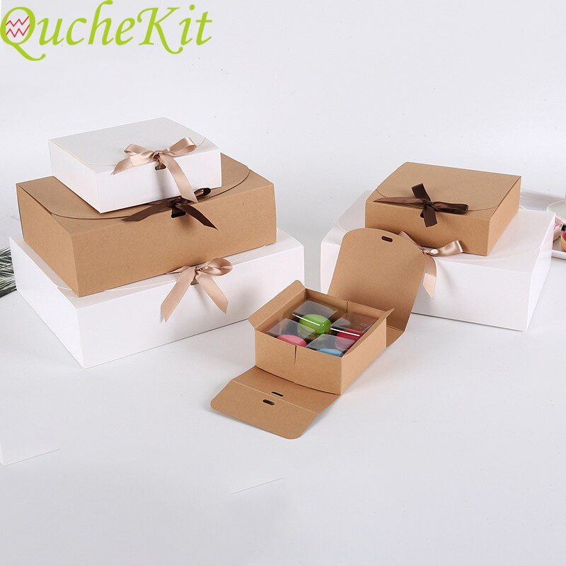 10pcs Kraft Paper Bow Gift Box Packaging Baking White Cake Christmas Decor 2021 Wedding Cardboard Boxes Party Supplies