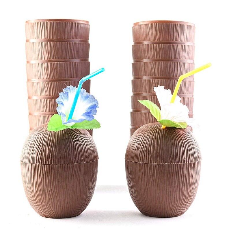 18 كوب جوز الهند لحفلات هاواي لوا ، للأطفال ، مع قش الكركديه ، زهرة تيكي والشاطئ ، موضوع الحفلة ، مشروب ممتع أو ديكور ، عصري