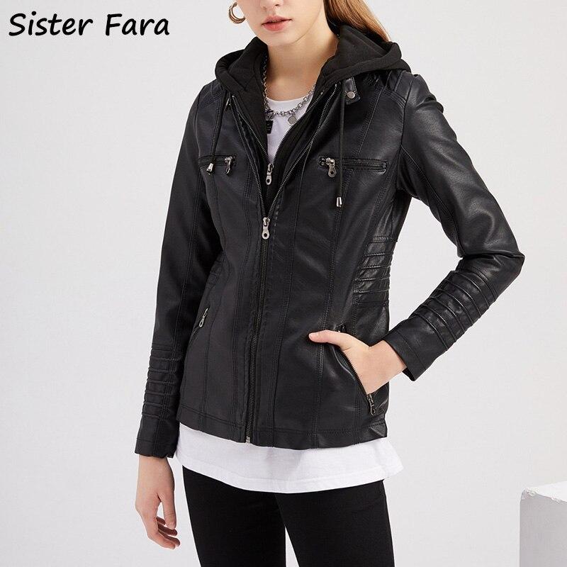 Куртка женская демисезонная из ПУ кожи, с капюшоном, из ПУ кожи