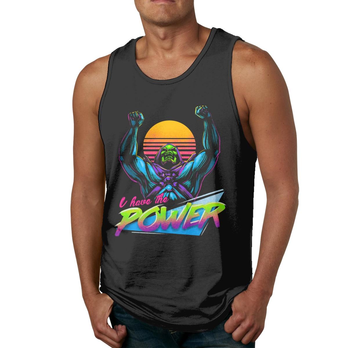 Estilo Retro maestro del universo Skeletor Power algodón Natural sin mangas camiseta sin mangas suave camiseta sin mangas con cuello redondo