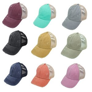 Adjustable Ponytail Baseball Cap Women Distressed Washed Cotton Caps Casual Summer Sunhat Trucker Hat  Dad Hats