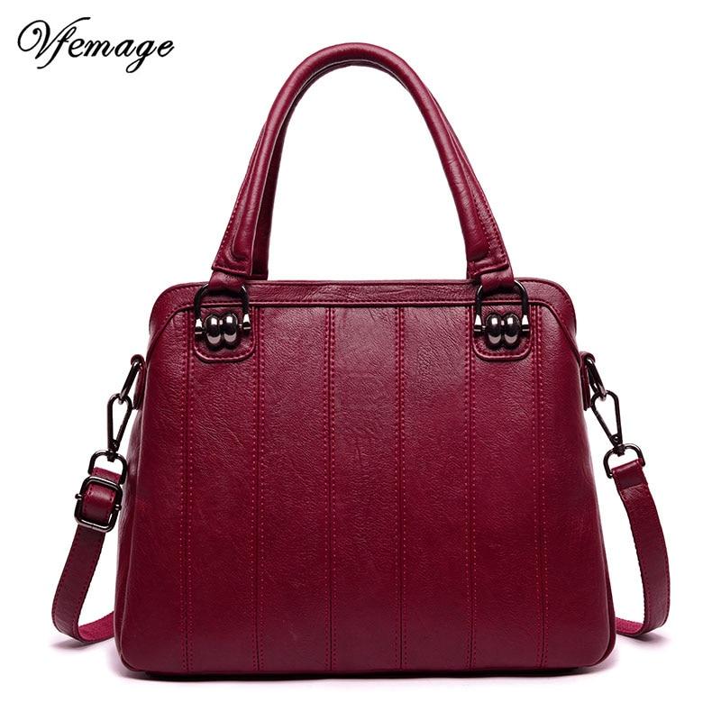 Vfemage bolso de mano Vintage para mujer, bolso de mensajero para mujer, bolso de hombro de cuero PU para mujer, Bolsa femenina de gran capacidad