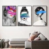 Toile de Graffiti aquarelle moderne pour fille  peinture en noir et blanc  affiche dart mural a la mode  images murales nordiques  decoration de salon