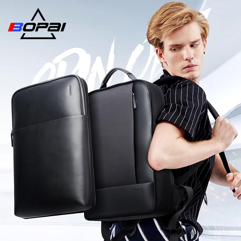 Мужской Дорожный рюкзак BOPAI, вместительный съемный рюкзак для ноутбука 15,6 дюйма с основной сумкой, кожаный деловой портфель