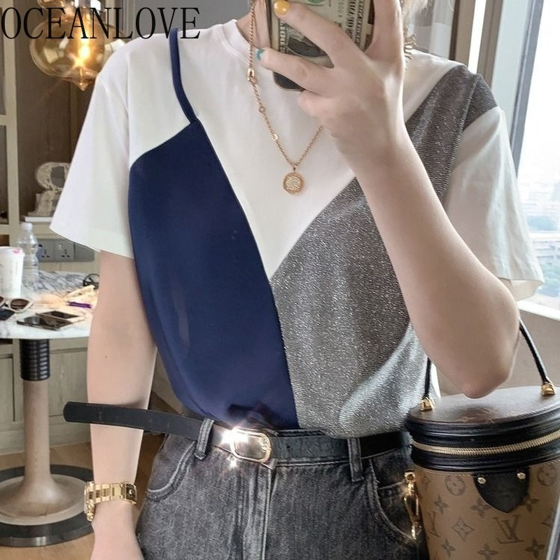 OCEANLOVE falso dos piezas de moda Mujer brillante Camiseta coreano nueva Ropa Mujer 2020 All Match Primavera Verano camiseta 15047