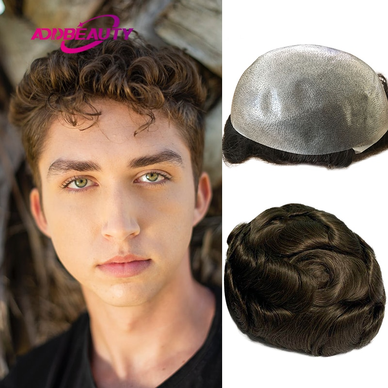 Mens Toupee Thin PU 0.04-0.05cm Remy Human Hair Replacement System 30mm Wave Straight Men Wig Hairpiece Natural Color Dark Brown