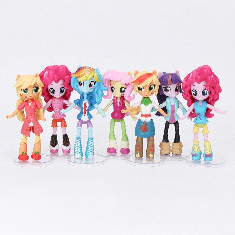 7 Uds juguetes My Little Pony de la magia de la amistad-figura de Pinkie Pie rareza Sunset Shimmer Fluttershy juguetes para niños regalos