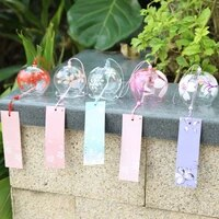 japan style handpaint sakura glass wind chimes wind bells home garden office hanging decorations beautiful hope new
