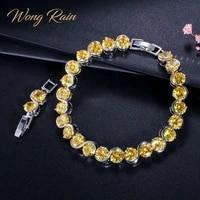 wong rain bohemian 100 925 sterling silver created moissanite citrine gemstone bangle charm bracelets fine jewelry wholesale