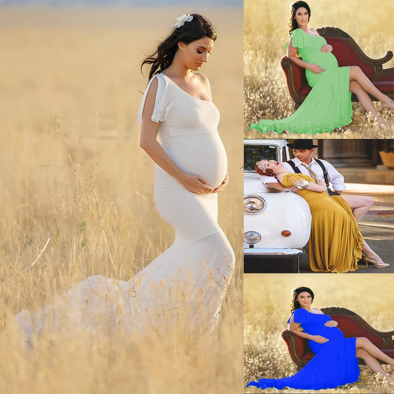 White Cotton Bodysuit Dress For Maternity Photography Props Sweet Heart Stretchy Maternity Dresses For Photo Shoot Outfit