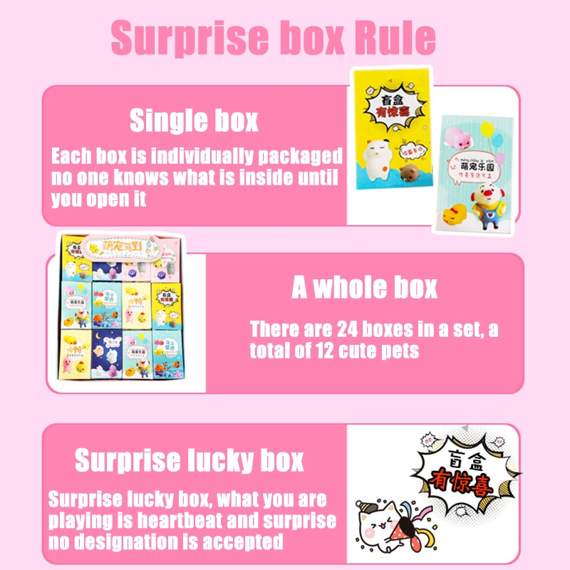 24 Style Funny Slow Soft Kid Random Surprise Box Fun Soft Squeeze Different Cute Kawaii Kids Adult Stress Reliever With Box Toys enlarge