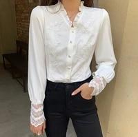 v neck women tops 2021 korean vintage chiffon lace flowers splicing chiffon women shirt long sleeve female elegant tops 102b