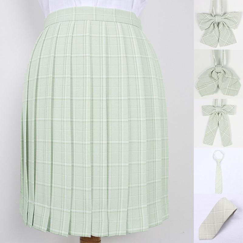 School Dresses Japanese Girl Grass Green Plaid Pleated Skirts School Skirt Uniform Cosplay Sailor Suit High School Fruit Green