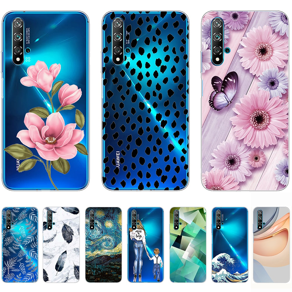 Soft Case for Huawei nova 5T Silicon Luxury Flexible Transparent Shell Back Cases 6.26Inch Shockproof Bumper Non-slip Anti-knock