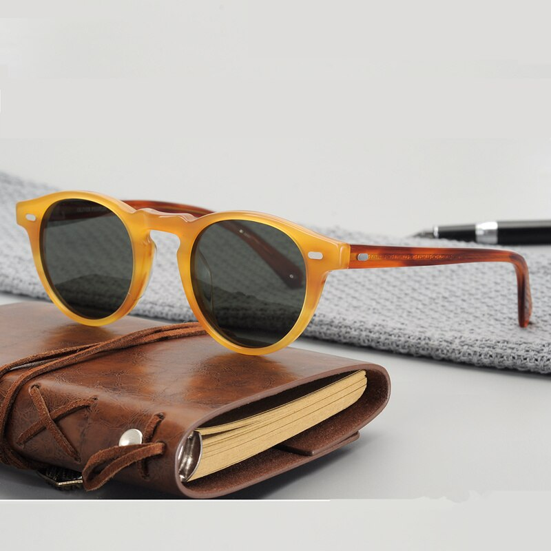 نظارة شمسية ريترو مستديرة الشكل ، عدسات مستقطبة عتيقة الطراز جريغوري بيك ، أسيتات ، OV5186 ، للقيادة