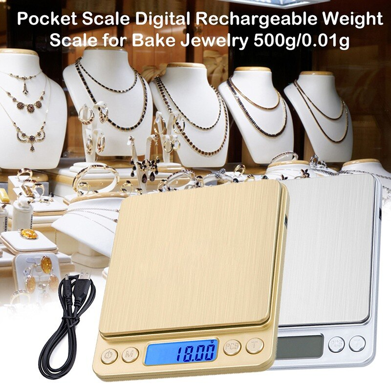 Pocket Jewelry Scale Digital Rechargeable Weight Scale for Golden Jewelry Kitchen Tea 500g/0.01g 1000g/0.1g 1Pcs