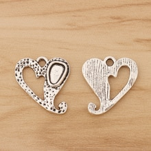 30 Pieces Tibetan Silver Hammered Heart Charms Pendants Beads for Necklace Bracelet Jewellery Making