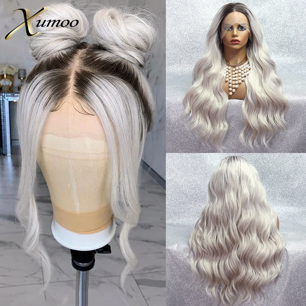 hot quality good synthetic black root to blonde ombre lace front wig long wavy cap girls cosplay wig free shipping XUMOO Ombre Platinum Blonde Synthetic Lace Front Wig Glueless Long Wave Wig Cosplay Heat Resistant Synthetic Wigs For Women