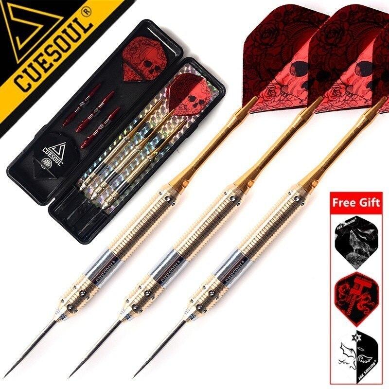 Cuesoul 3 pçs 23g 25g 27g profissional ponta de aço dardos agulha com vermelho dardo voos