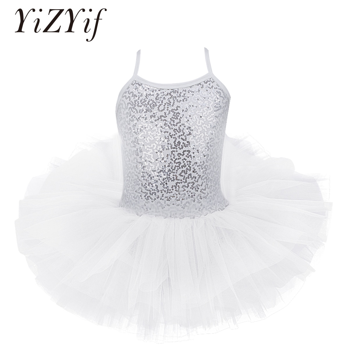 Kid Girls Ballet Tutu Tulle Dress Sleeveless Gymnastics Leotard Sequin Criss-Cross Ballet Leotard For Girl Ballerina Performance
