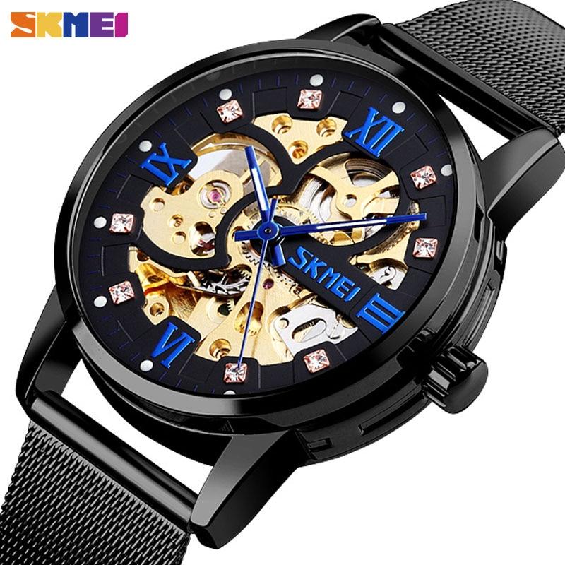 Relogio Masculino SKMEI Creative Automatic Watch Men Mechanical Wristwatches Mens Gear Hollow Art Dial Strainless Steel Strap