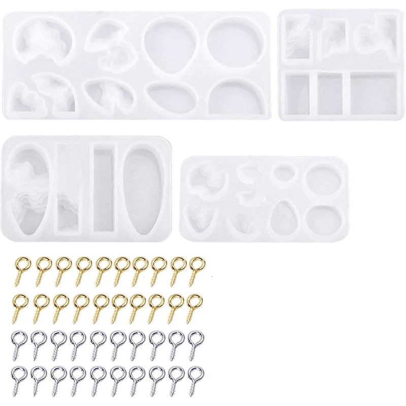 Isla de Resina de silicona moldes 4 Uds estilo del océano moldes de silicona de Moldes de resina epoxi con 100 Uds tornillo alfileres con ojetes para colgante