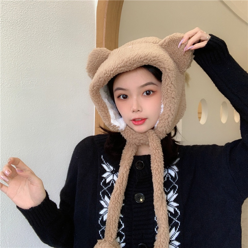 Korean-style Cute Bear Ear Hat Autumn Winter Thickening Plush Cold Protection Earflaps Warm Hat Usha
