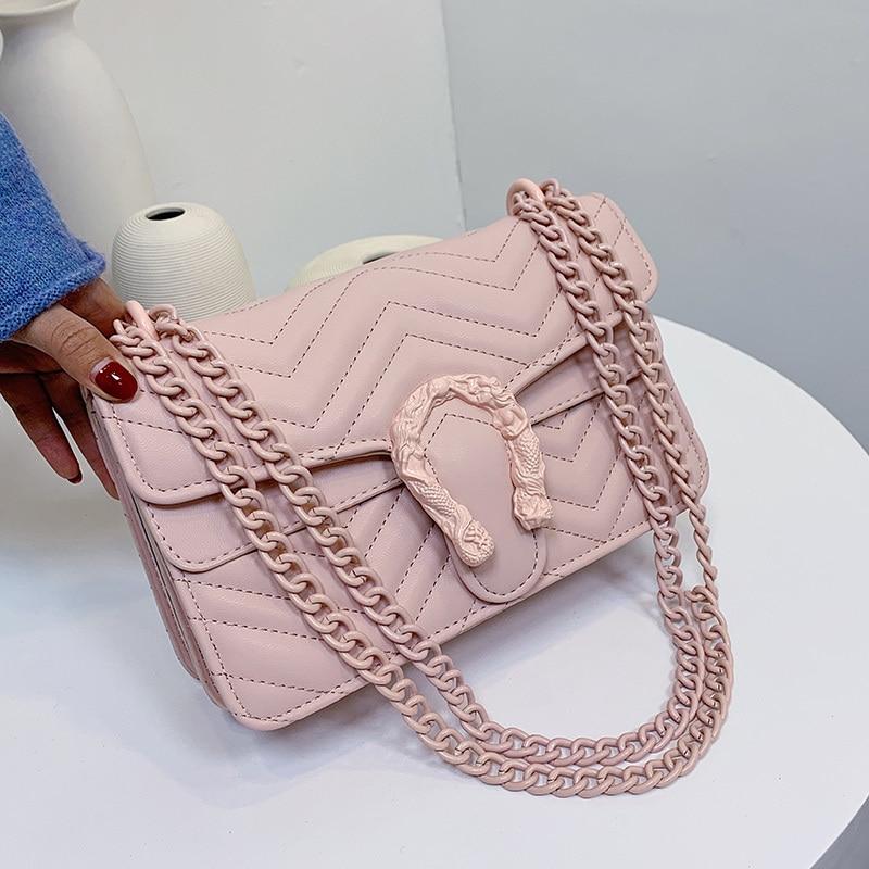 2021 كاندي اللون موضة العلامة التجارية المرأة حقيبة لينة حقيبة ساعي من الجلد المصقول مصمم سلسلة الكتف حقيبة كروسبودي حقيبة بولسو Mujer