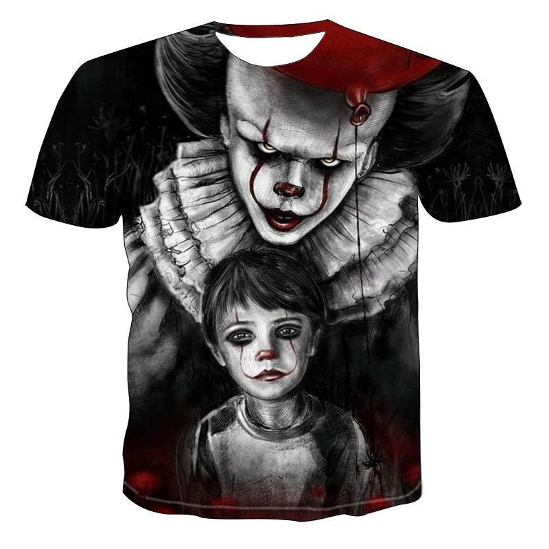 Summer new 3DT shirt mens street casual print black short sleeve fashion funny white T-shirt high Colorful
