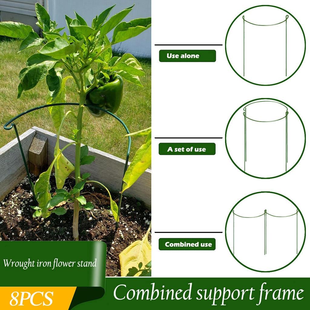 Soporte para plantas de jardín hortícola, 8 Uds., soporte para anillo, herramienta de jardinería, soporte de sujeción para jardín, proveedores de vegetales
