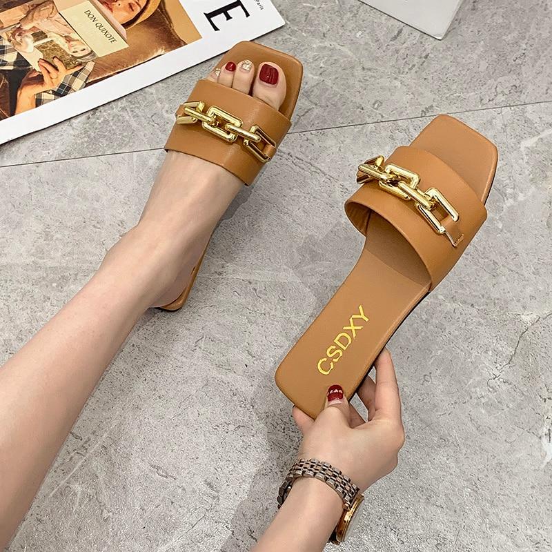 AliExpress - Plus Size Summer Women's Slippers Flats Metal Chain Ladies Slides Square Toe Flip Flops Woman Beach Slipper Slip On Female Shoes