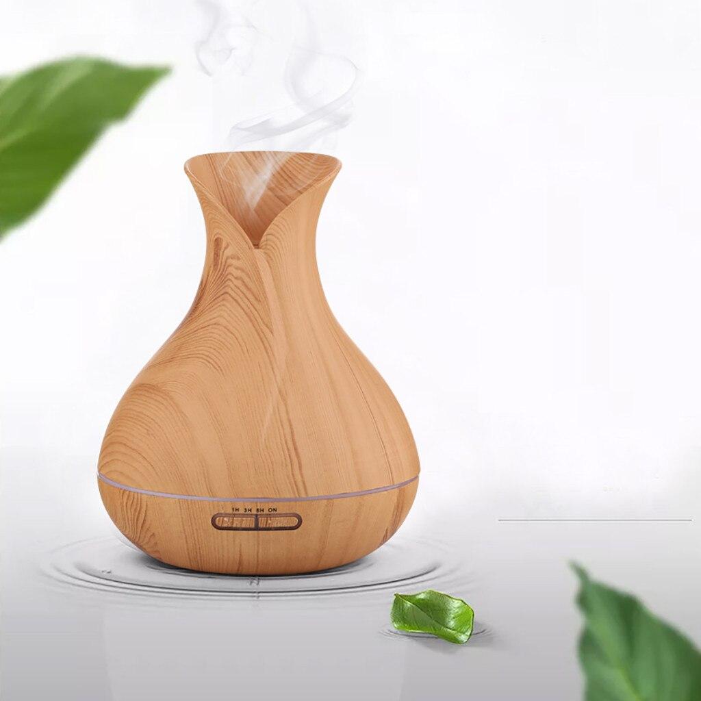 Difusor de aire de Aroma eléctrico USB de 400ml difusor de aceite de grano de madera humidificador de aire 7 colores LED de aceite de luz de dormitorio de bebé aromaterapia