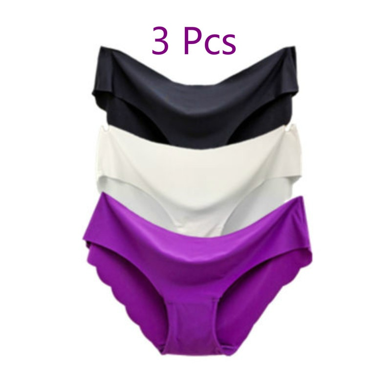 3 Pcs/set  Solid Ladies Women Seamless Panties Ice Silk Underwear G String Sexy Comfortable Breathable