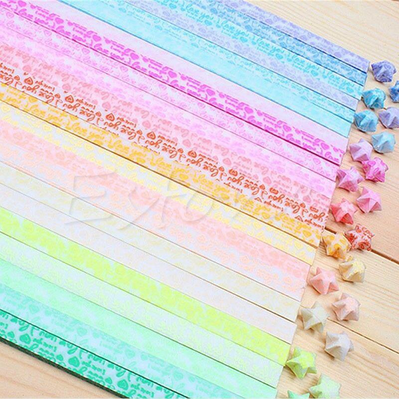 30Pcs/bag Glow in Dark Lucky Star Origami Folding Plastic Strip Paper