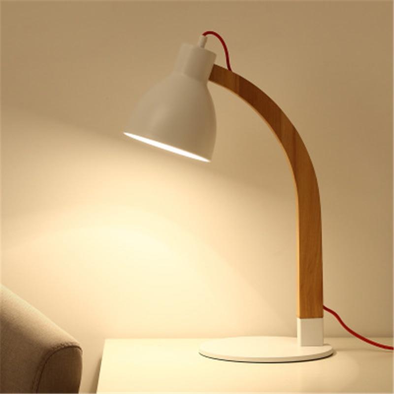 Прикроватная настольная лампа для спальни оригинальная из дерева в