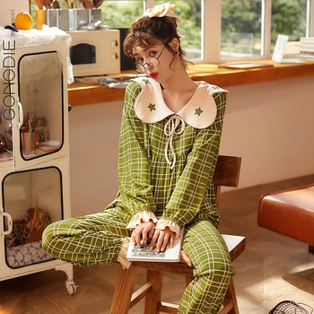 Gong Die Pajamas Women's Spring and Autumn Cotton Long Sleeve Thin Suit Green Plaid Simple Girl Sweet Home Wear