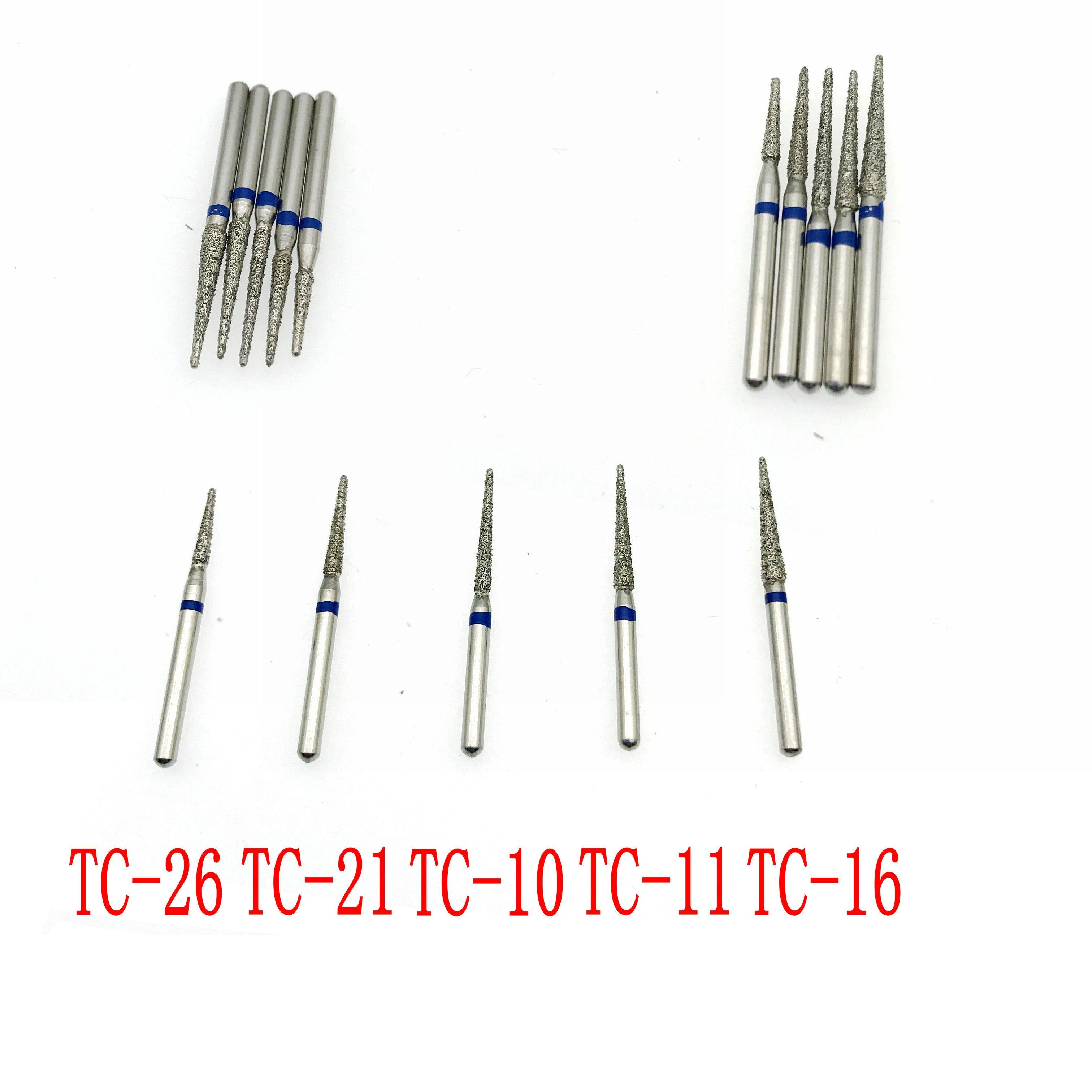 Fresas dentales de diamante de 50 Uds. Serie TC, fresas dentales de mano de alta velocidad TC26/TC21/TC10/TC11/TC16