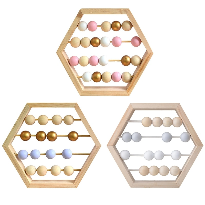 Creative Wooden Hexagon Abacus Beads Desktop Ornaments Wood Home Desk Craft Work 37MF