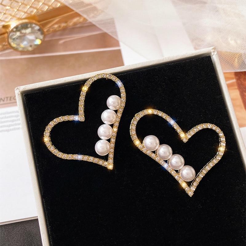 Coreano de moda joyería de moda de diamantes de imitación amor pendientes grandes pendientes de simulacion de perlas Oorbellen pendientes para las mujeres Brincos