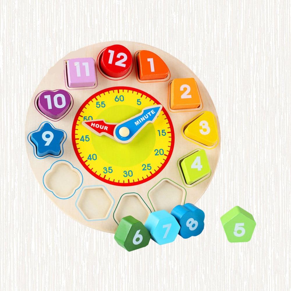 1PC Wooden Clock Number Building Blocks Geometric Matching Blocks Educational Supply for Kids Children