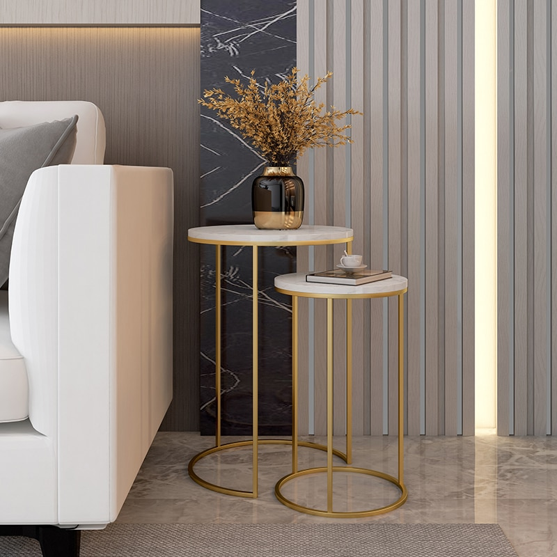 Marble top sofa side table corner table end table round small coffee table golden black legs frame optional 2 sets combination